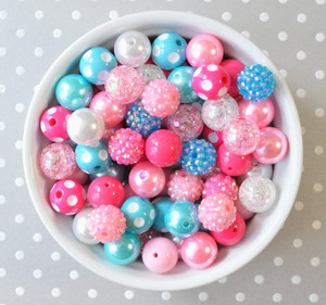 16mm Pink aqua turquoise bubblegum bead mix