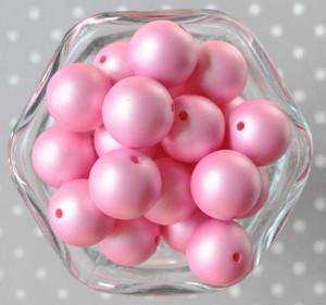 20mm Bubblegum Pink matte pearl bubblegum beads