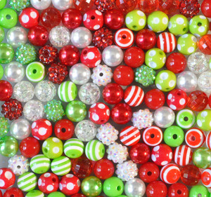 12mm Red and Lime Christmas bubble gum bead mix