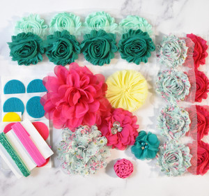 Aqua and Fuchsia shabby flower headband kit