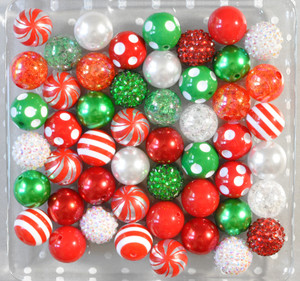 Christmas peppermint red, emerald, and white bubblegum bead wholesale kit.
