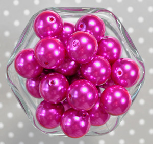 20mm Dark Fuchsia pearl bubblegum beads