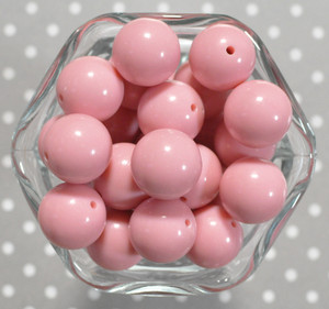 20mm Chalk Pink solid bubblegum beads