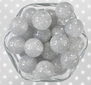 20mm Grey glitter jelly bubblegum beads