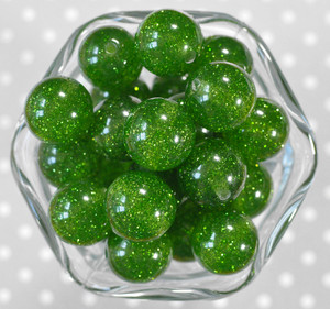 20mm Leaf green glitter jelly bubblegum beads