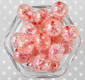 20mm Burnt Cherry barrel AB crackle bubblegum beads