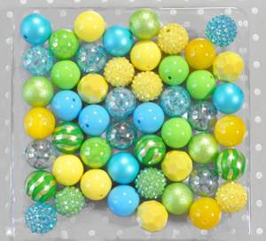 Summer fun blue, yellow, and green bubblegum bead wholesale kit