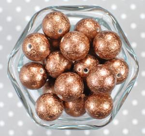 20mm Bronze stardust metallic bubblegum beads