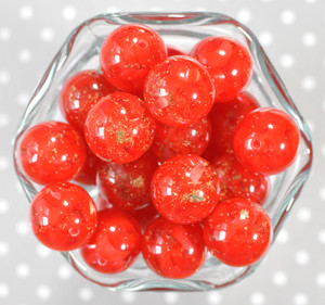 20mm Red gold flake bubblegum beads