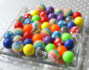 Rainbow bubblegum beads wholesale for chunky necklaces