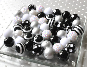 Black and white bubblegum beads wholesale for chunky necklaces