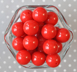 20mm Red solid chunky bubblegum beads
