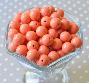 12mm Apricot solid bubblegum beads for kids' necklaces