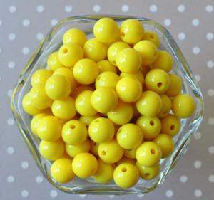 Lemon yellow solid small chunky bubblegum beads