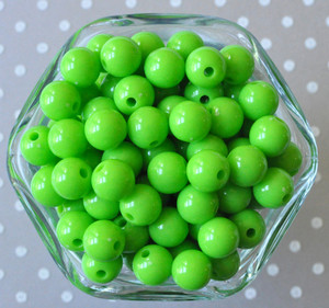 Lypple lime green solid small chunky bubblegum beads