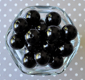20mm Black pearl bubblegum beads for chunky necklaces