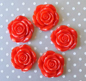 42mm Red resin flower beads for chunky necklaces