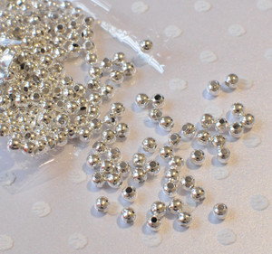 4mm silver plate spacer beads for chunky bubblegum necklaces
