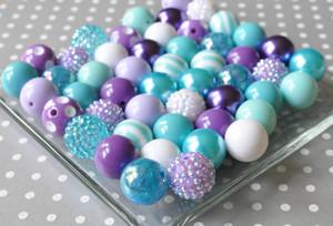 Aqua, turquoise, and purple bubble gum chunky bead kit