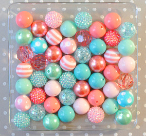 Coral and Aqua Summer Splash bubblegum bead wholesale kit