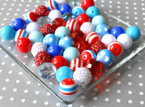 Nautical Fun blue, red, and white bubble gum chunky bead kit