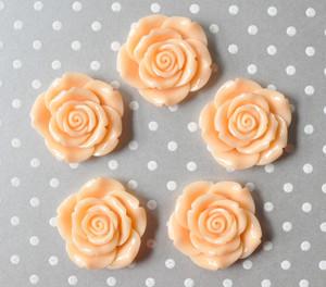 42mm Peach resin flower beads