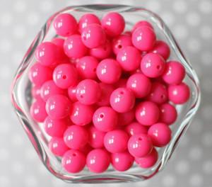 12mm Shocking pink solid bubblegum beads