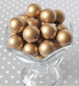 Brushed matte gold 20mm bubblegum beads