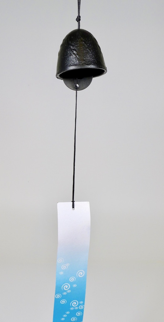 Cast Iron Furin Bell, Brush Black Dome Design