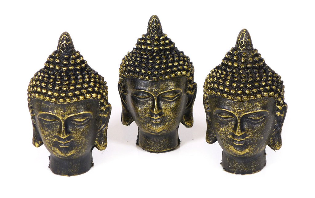 Spiceberry Home Three Small Gold and Black Buddha Heads