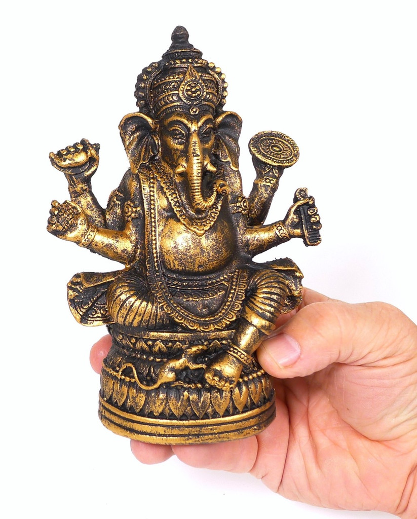 Spiceberry Home Small Black Ganesh Statue, Cast Bronze Resin