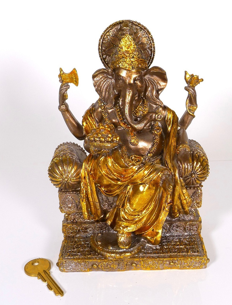 Spiceberry Home Black and Gold Ganesh Statue, Cast Resin