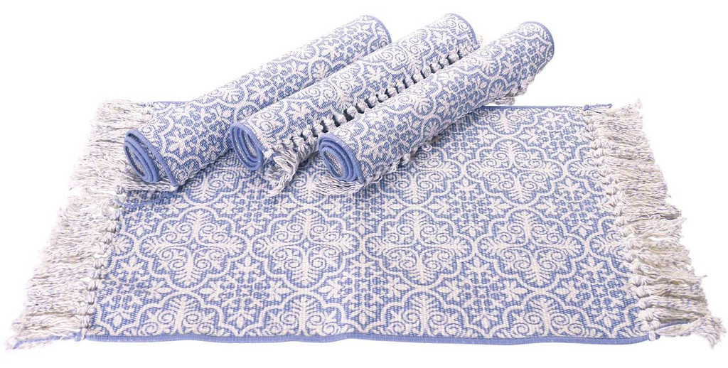 Blue Cotton rib placemats with classical design.