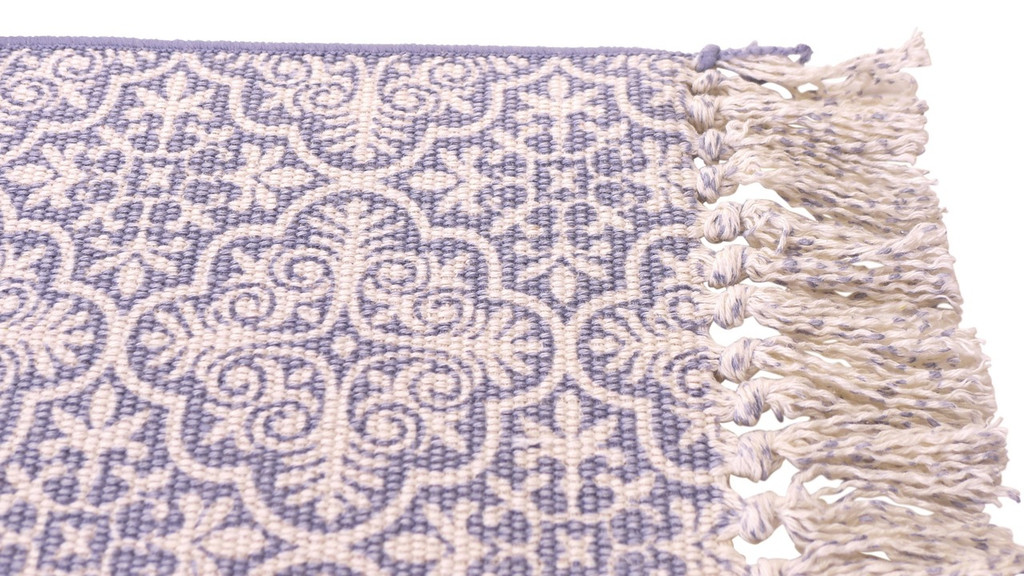 Closeup of blue cotton rib placemat