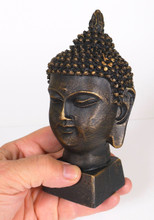 Spiceberry Home Black Buddha Head Statue, Cast Resin