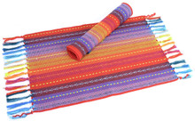 Spiceberry Fiesta Cotton Placemats Red, Blue, Yellow Weave - Set of 4