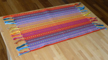 Spiceberry Home Fiesta Cotton Placemats, Red, Blue and Yellow with Tassels, Set of 4