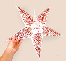 Decorated Paper Star Lantern, Set of Three