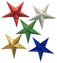 Set of five paper star lanterns made with metallic foil paper