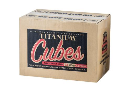Case of 12 HookahJohn Titanium Coconut Coals 72pc Cubes