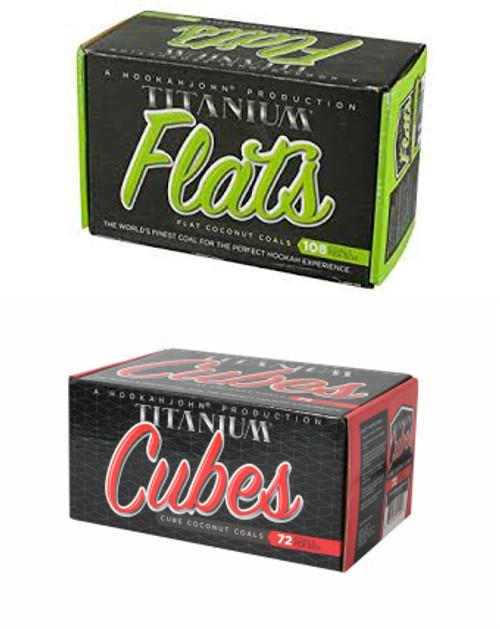 Case of 12 HookahJohn Titanium Coconut Coals (6 x 108pc Flats and 6 x 72pc Cubes)