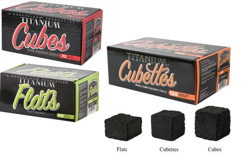 Mixed Case of 12 HookahJohn Titanium Coconut Coals (4 x 108pc Flats, 4 x 72pc Cubes and 4 x 120pc Cubettes)