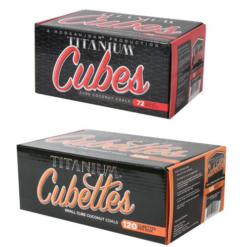 Case of 12 HookahJohn Titanium Coconut Coals (6 x 72pc Cubes and 6 x 120pc Cubettes)