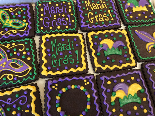 Mardi Gras Chocolate Sugar Cookies