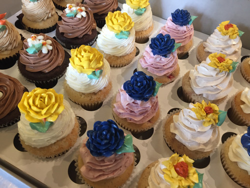 A Box of Flower Cupcakes