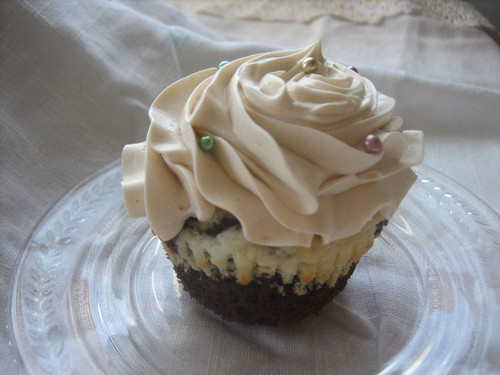Chocolate and White Cupcakes with Brown Sugar Buttercream