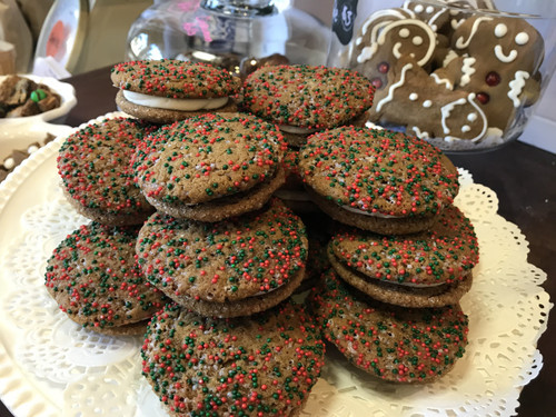 Gingerbread Sandwich Cookies with Egg Nog Cream Filling