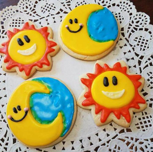 Happy Sun and Moon Sugar Cookies