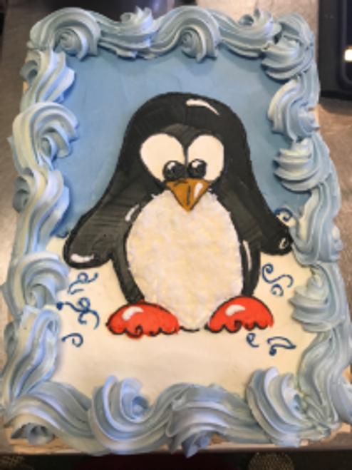 Holiday Penguin Egg Nog Cake