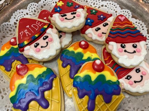 Pride Gnome and Ice Cream Cone Cookies